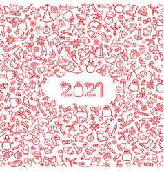 happy new year 2021 snow winter holiday red vector image