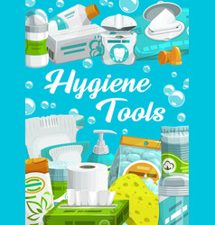 hygiene and care shower bathroom toiletries vector image