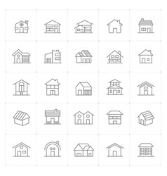 icon set - home thin line high detail vector image
