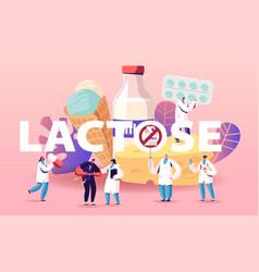 Lactose intolerance concept man feel bad in vector