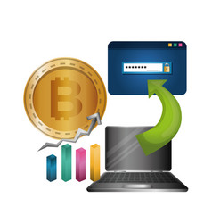 Laptop with bars and bitcoin vector