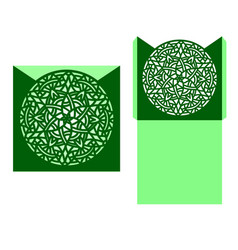 Laser cut card temlate with mandala vector