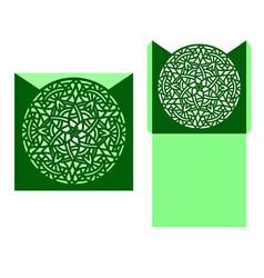 laser cut card template with mandala vector image