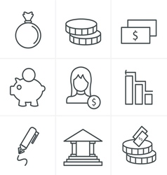 Line Icons Style banking icons vector image