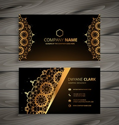 Luxury golden ornament business card vector