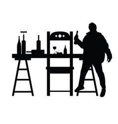 Man drunk silhouette with bottle in black vector