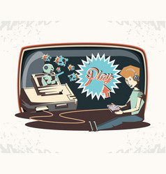 man playing video game retro vector image