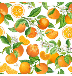 mandarin floral background seamless fruit vector image