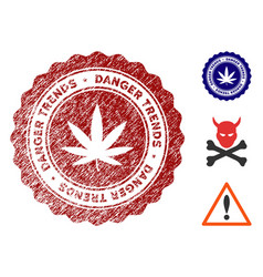 Marijuana danger trends watermark with scratched vector