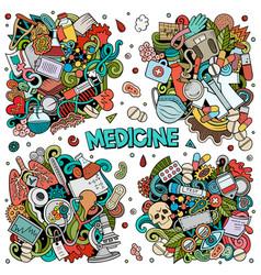 medicine cartoon doodle designs set vector image