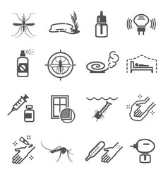 mosquito insect protection linear icons set vector image