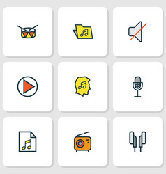 multimedia icons colored line set with earphones vector image