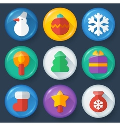 New year buttons in glossy flat style vector