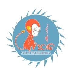 New Years cartoon monkey in round vector image vector image