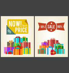 now best prices hot discounts clearance sale set vector image