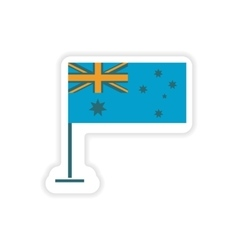 Paper sticker Australian flag on white background vector
