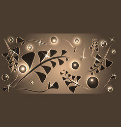 pattern of silver plant elements on a bronze vector image