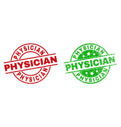 Physician round badges with grunge texture vector
