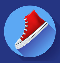 red sneakers shoes for city running shoe flat vector image