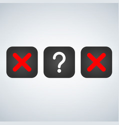 red x symbol icon and question mark isolated sign vector image