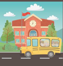 School building and bus design vector