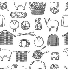 seamless pattern with wool items goods for hand vector image