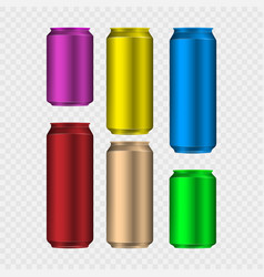 Set colorful aliminum drink cans isolated on vector