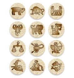 set icons with zodiac contour symbols on vector image