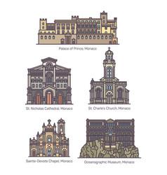 Set isolated principality monaco landmarks vector