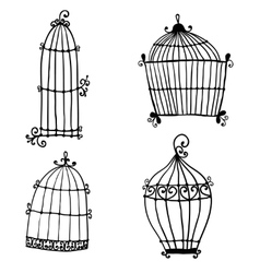 Set of doodle cages for birds vector image