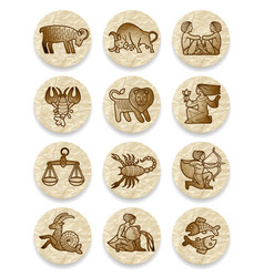 set of icons with zodiac contour symbols on vector image