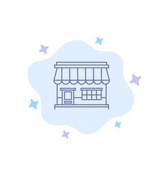 shop online market store building blue icon on vector image