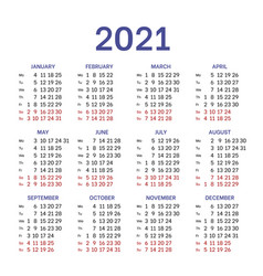 Simple classic calendar layout for 2021 year vector