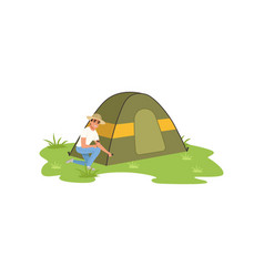 smiling man sitting near tourist tent traveling vector image