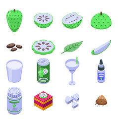soursop icons set isometric style vector image