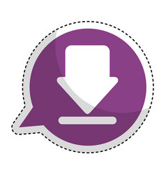 Speech bubble with arrow download isolated icon vector