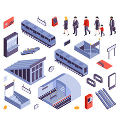 subway elements people set vector image