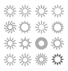 sun outline flat set vector image