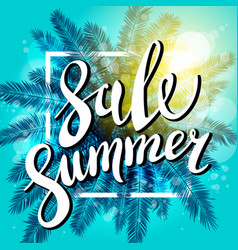 sunset on the beach summer sale blue background vector image