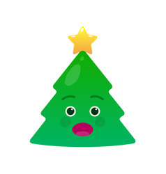 surprised christmas tree isolated emoticon vector image