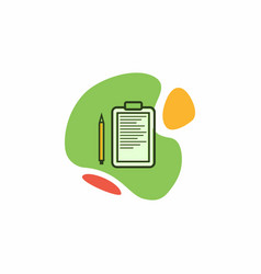 tablet icon with a piece of paper and a pen vector image