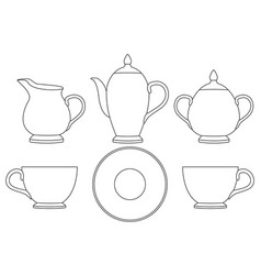 tea set outline icons vector image