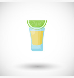 Tequila shot with lime flat icon vector