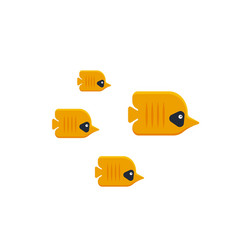 The flock of tropical butterfly fish isolated on vector