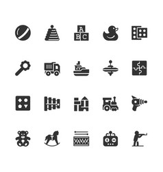 toys icon set in glyph style vector image