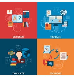 Translation and dictionary flat icons composition vector image