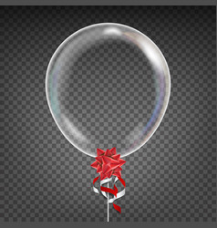 transparent balloon red bow party vector image
