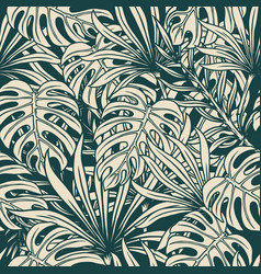 Vintage tropical floral seamless pattern vector