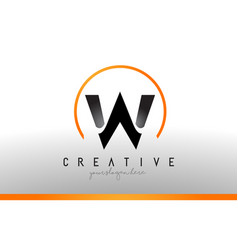 w letter logo design with black orange color cool vector image
