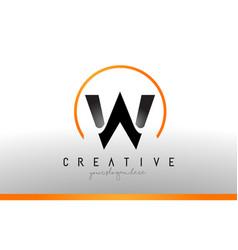 W letter logo design with black orange color cool vector